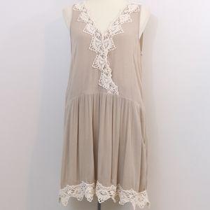 Entro Gauzy Tan Crochet Lace Dress